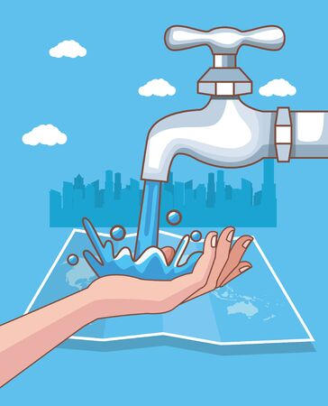 handwashing with cityscape corona virus scene vector illustration design Ilustração