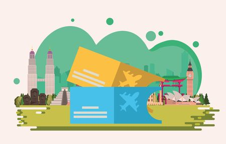tickets flight documents isolated icon vector illustration design 向量圖像