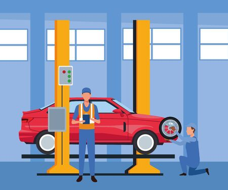 car repair shop scenery with lifted car and mechanics working, colorful design, vector illustration
