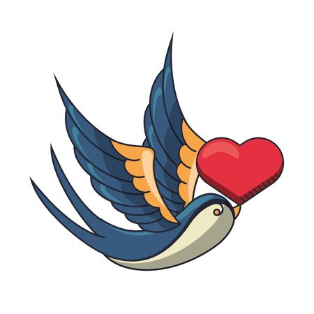 beautiful bird flying with heart love vector illustration design