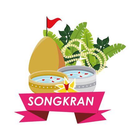 bowl with water songkran ribbon vector illustration design Ilustração