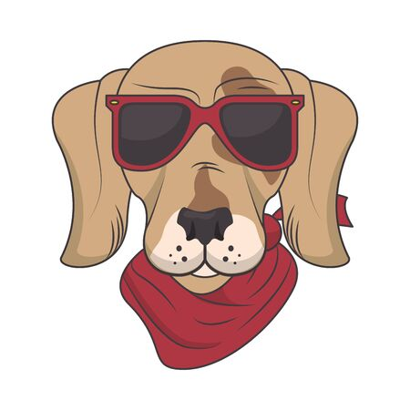 funny dog with sunglasses cool style vector illustration design Illustration