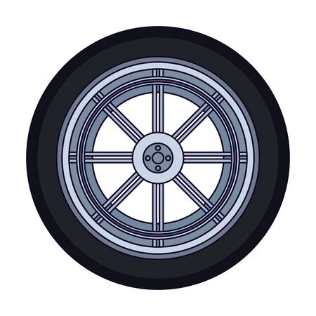 car tire icon over white background, vector illustration