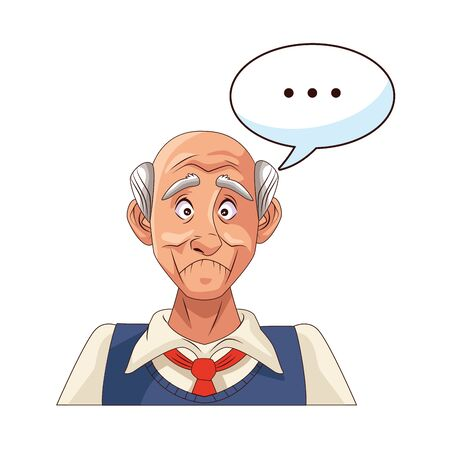 old grandfather with consecutive points in speech bubble vector illustration