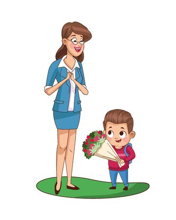 cute little boy with teacher giving flowers vector illustration design
