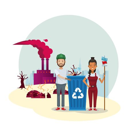 couple of environmentalists with factory polluting vector illustration design Vettoriali
