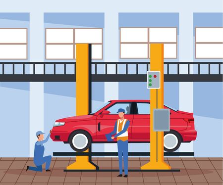 car workshop scenery with lifted car with mechanics working, colorful design, vector illustration Ilustracja