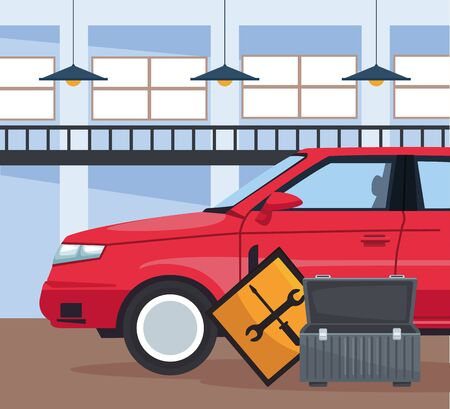 car repair shop with red car and tools box and road sign , colorful design, vector illustration