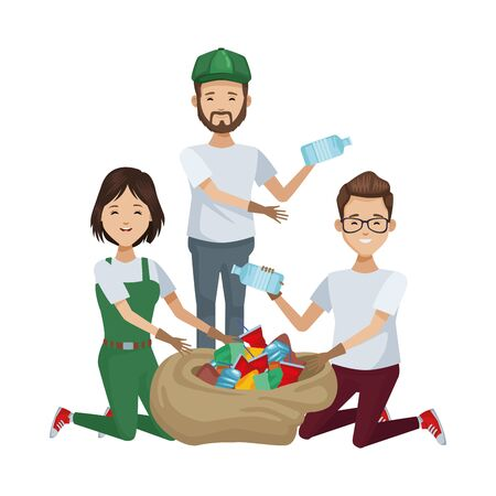 environmentalists people recycling avatars characters vector illustration design