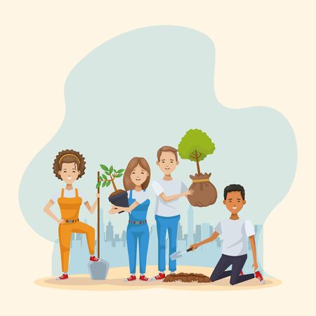 couple of environmentalists planting trees characters vector illustration design 일러스트