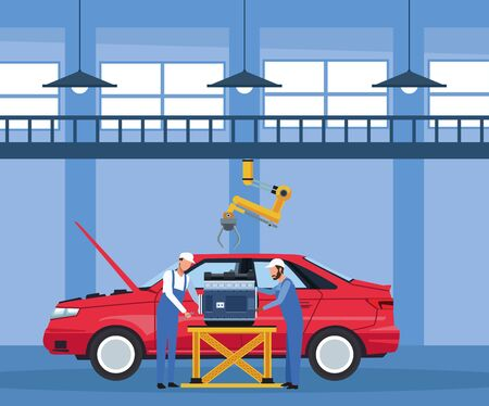 car workshop scenery with mechanics working on engine over red car, colorful design, vector illustration