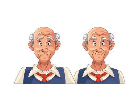 couple of old grandfathers characters vector illustration design Ilustración de vector