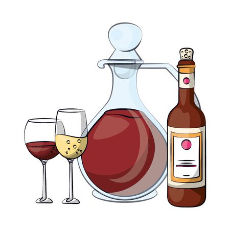wine and champagne bottle drink with cups vector illustration design Stock Illustratie