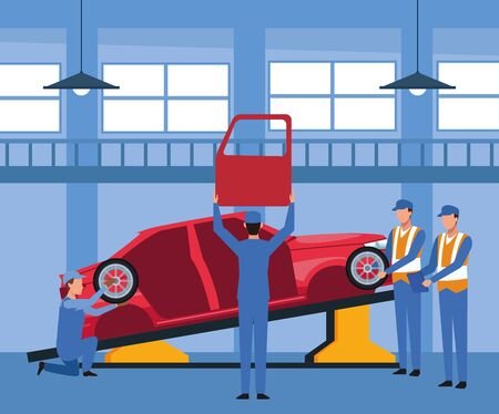 car repair shop scenery with mechanics working on car lifted, colorful design, vector illustration Ilustracja