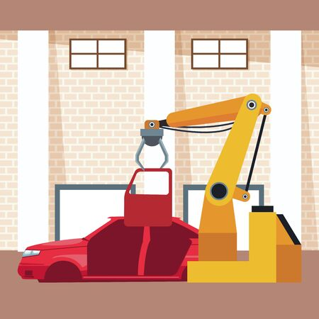 car workshop scenery with car body and arm industrial machine holding a door, colorful design, vector illustration