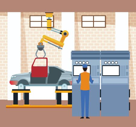 car workshop scenery with arm industrial machine holding a door and mechanic at machine supervising the process , colorful design, vector illustration