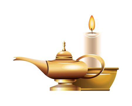 Antique golden magic lamp and candle vector illustration graphic design