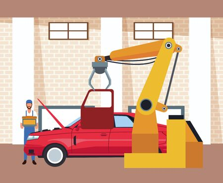 car workshop scenery with mechanic holding a battery and machine holding a door , colorful design, vector illustration