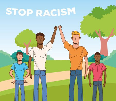 group of interracial men stop racism campaign vector illustration design