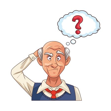 old grandfather with interrogation symbol in speech bubble vector illustration