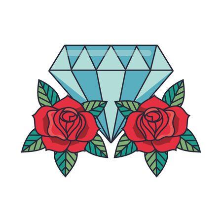 beautiful roses flowers with diamond stone vector illustration design Ilustrace