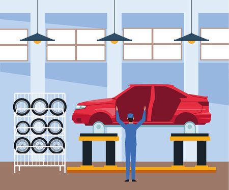 car repair shop scenery with car body and mechanic standing working , colorful design, vector illustration