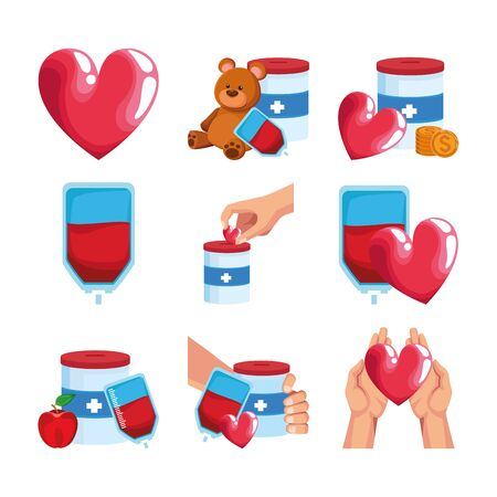 icon set of donation and hearts concept over white background, colorful design, vector illustration