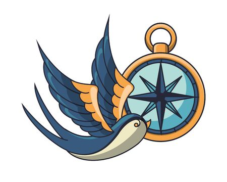 beautiful bird flying with compass vector illustration design