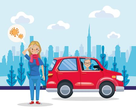 man driving car and woman sick for pollution vector illustration design Ilustracja