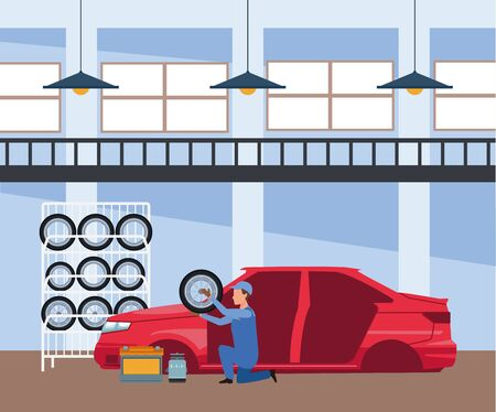 car repair shop scenery with mechanic holding a car tire and red car, colorful design, vector illustration