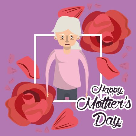 happy mothers day card with grandmother character vector illustration design