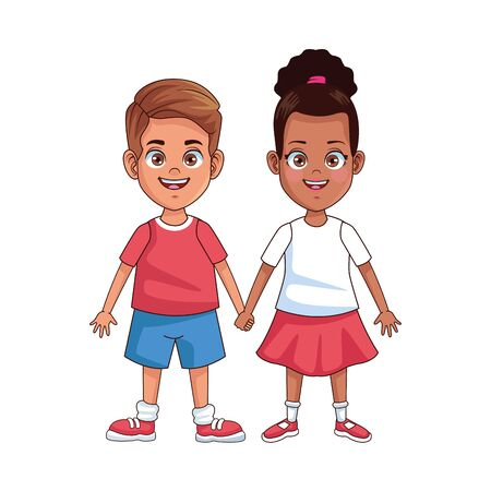 happy little interracial kids avatars characters vector illustration design