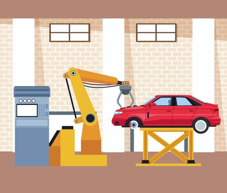 car workshop scenery with lifted car and arm industrial machine, colorful design, vector illustration Ilustracja