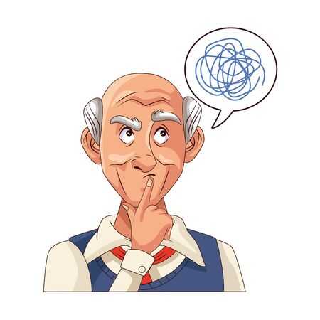old grandfather with scribble in speech bubble vector illustration design Illustration