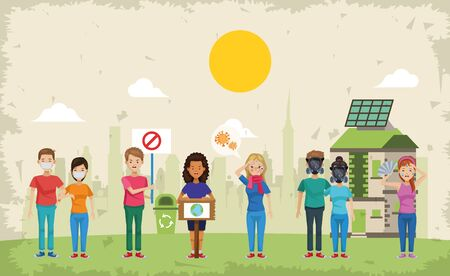 couple of environmentalists protesting characters vector illustration design