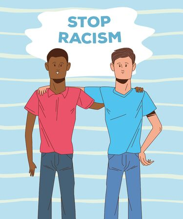 couple of interracial men stop racism campaign vector illustration design Ilustração