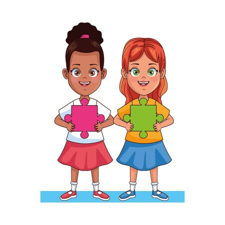 happy interracial girls with puzzle piece characters vector illustration design