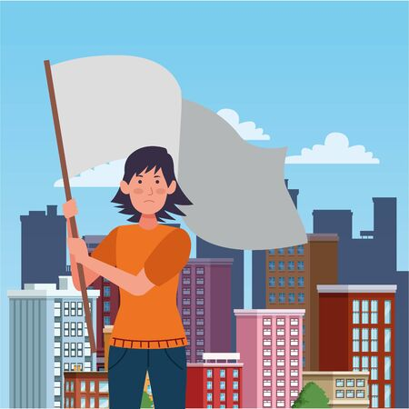 activist woman with withe flag vector illustration design