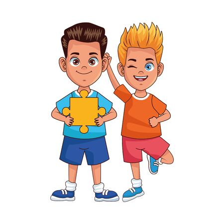 happy little boys with puzzle pieces avatars characters vector illustration design 向量圖像