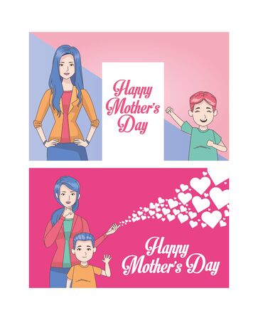 happy mothers day card with moms and kids vector illustration design