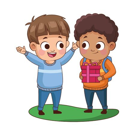 cute little boys with gift avatars characters vector illustration design