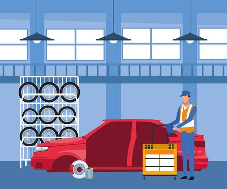 car repair shop scenery with car tires rack and mechanic working on car body, colorful design, vector illustration