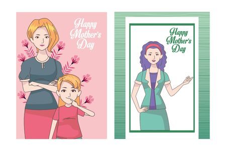 happy mothers day card with moms and daughter vector illustration design
