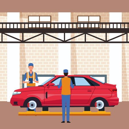 car workshop scenery with mechanics working on red car, colorful design, vector illustration