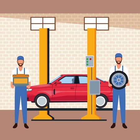 car workshop scenery with lifted car on machine and mechanics holding a car parts, colorful design, vector illustration