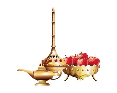 Luxury golden chalice with diamonds and apples vector illustration graphic design Stock Illustratie
