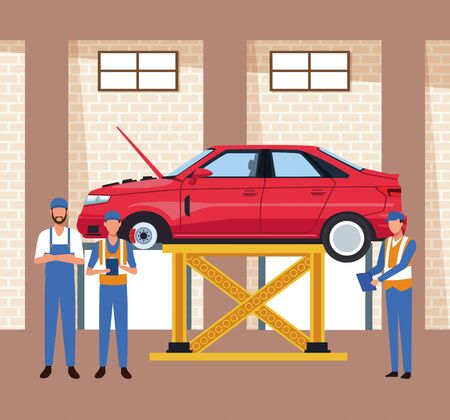 car workshop scenery with lifted car and mechanics standing , colorful design, vector illustration