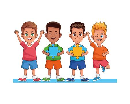 happy interracial boys with puzzle pieces avatars characters vector illustration design 向量圖像