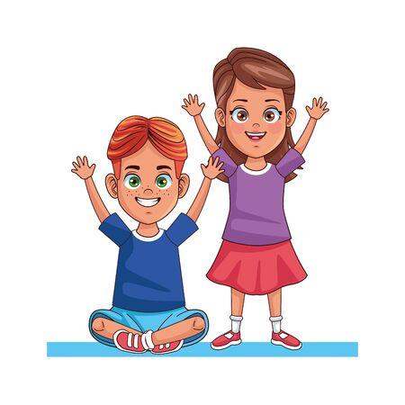happy little kids avatars characters vector illustration design