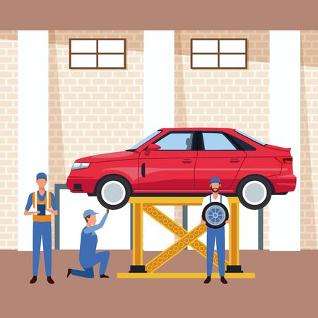 car workshop scenery with lifted car and mechanics working on, colorful design, vector illustration Ilustracja